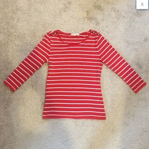 Red White Striped Brass Button Epaulette Top S